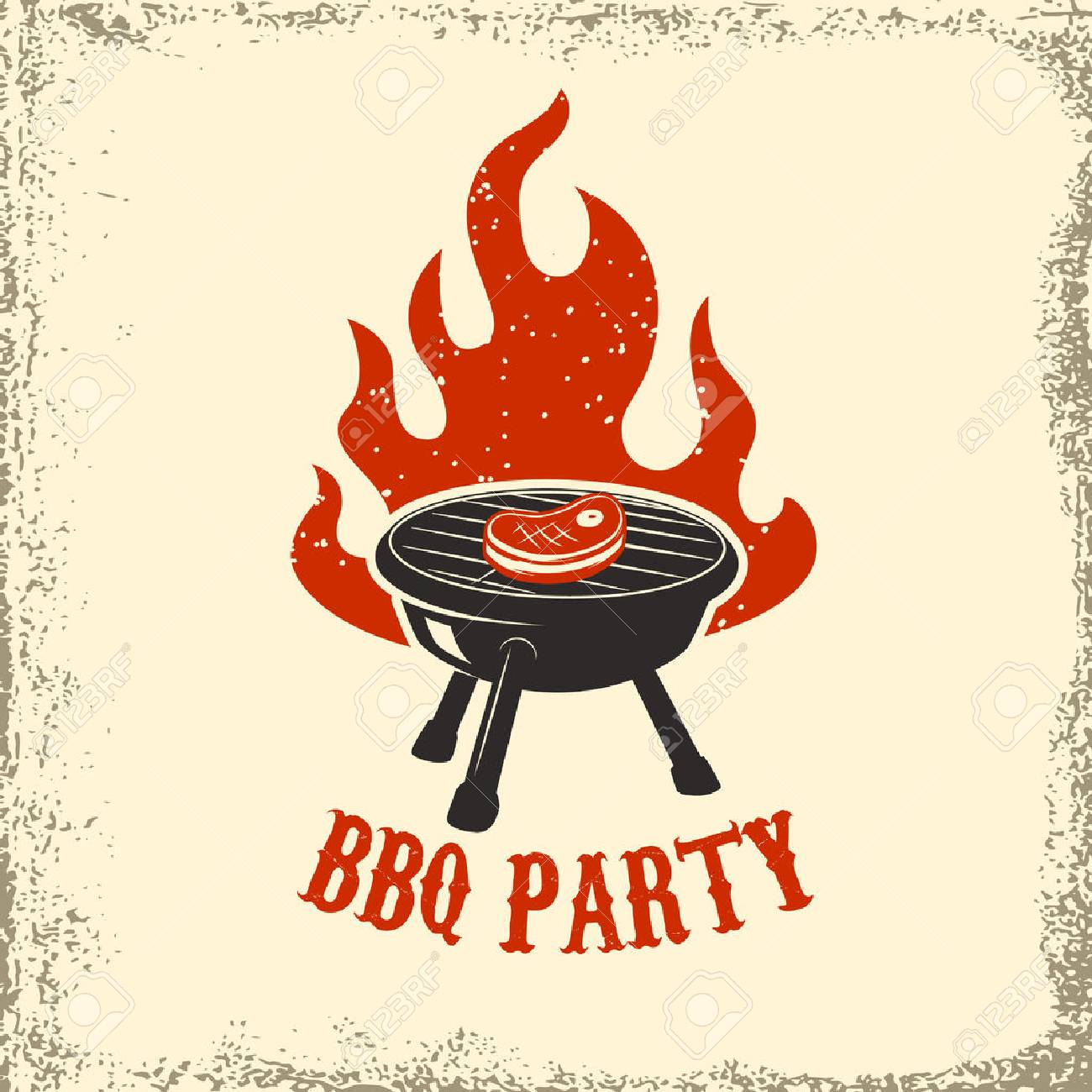 BBQ party. Grill with fire on grunge background. Design element for poster, restaurant menu. Vector illustration. - 74864261
