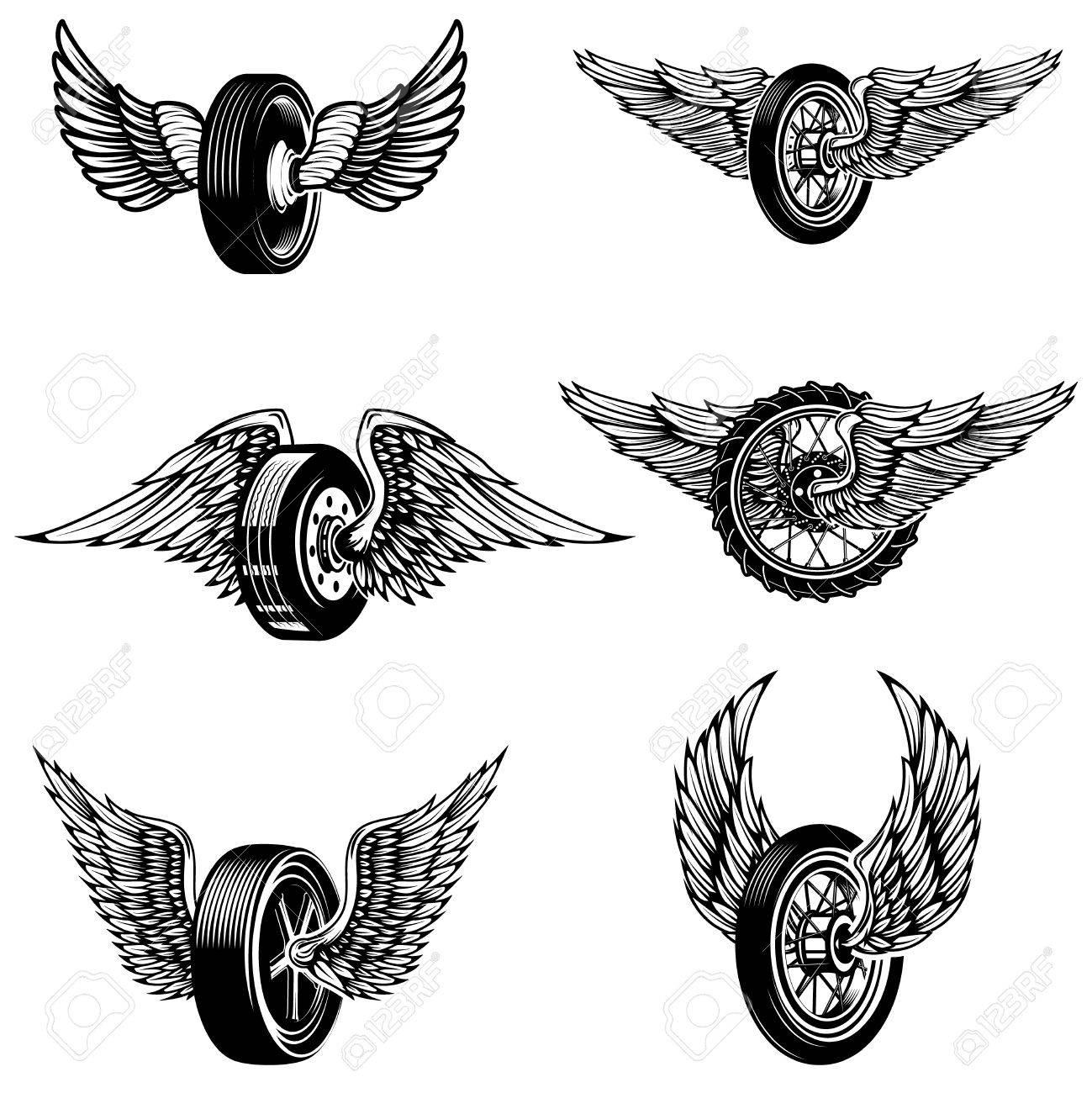 Set of winged car tires on white background. Design elements for logo, label, emblem, sign.Vector illustration - 75492868