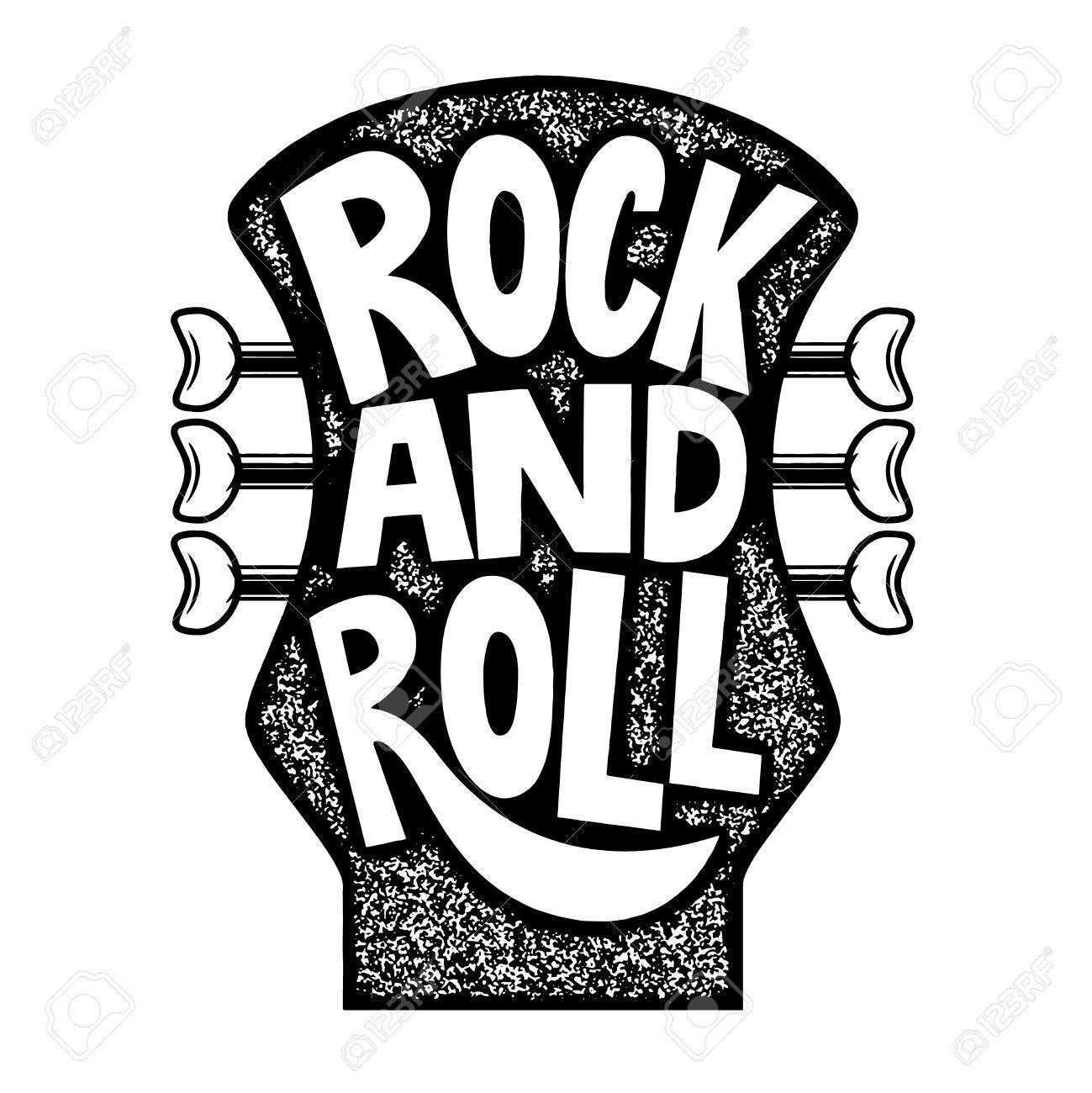 Rock And Roll Frase Dibujada Mano En Fondo De La Cabeza Del Cuello De La Guitarra Elemento De Diseño Para El Cartel Emblema Signo Ilustración Del