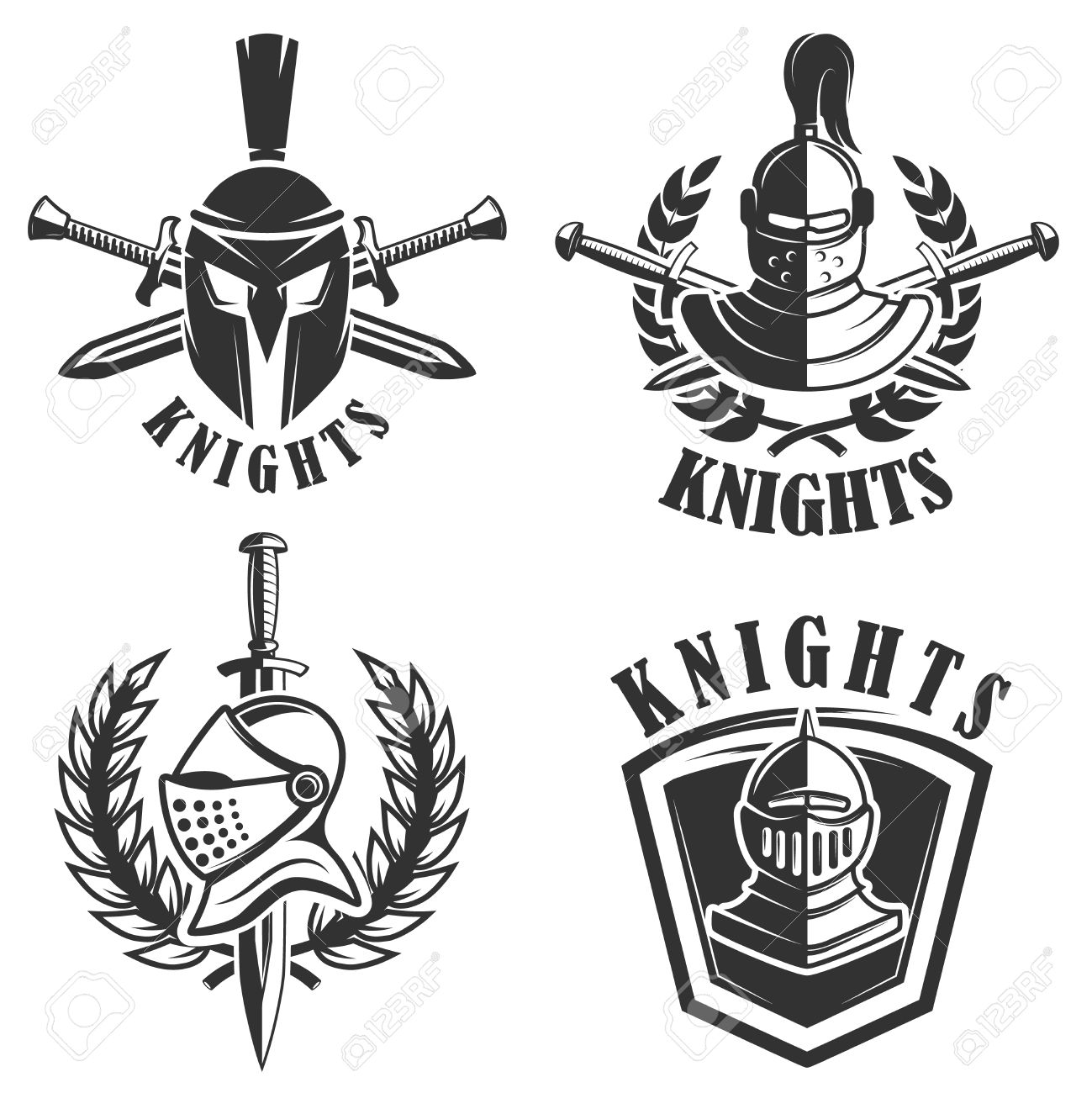 Set Of The Emblems With Knights Helmets And Swords Design Elements Royalty Free Cliparts Vectors And Stock Illustration Image 75904067