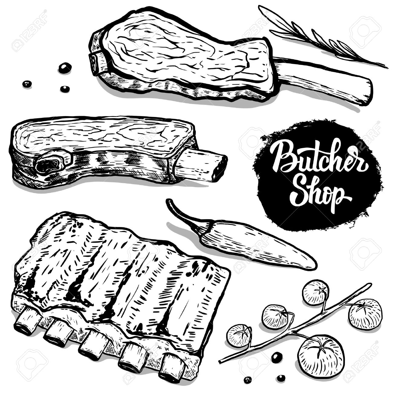Butcher shop. set of hand drawn beef ribs with spices. Design elements for poster, menu, flyer. Vector illustration - 76546782