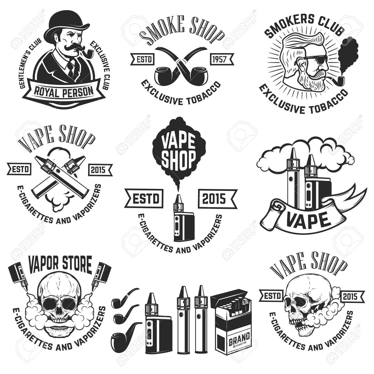 Set Of Vape Shop Emblem Templates. Smoke Shop. Design Elements ...