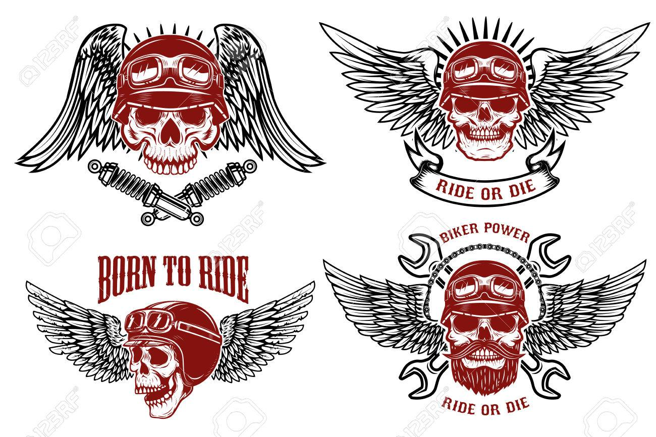 Born to ride. Set of the emblems with racer skulls. Biker club labels. Vector illustrations. - 78077253
