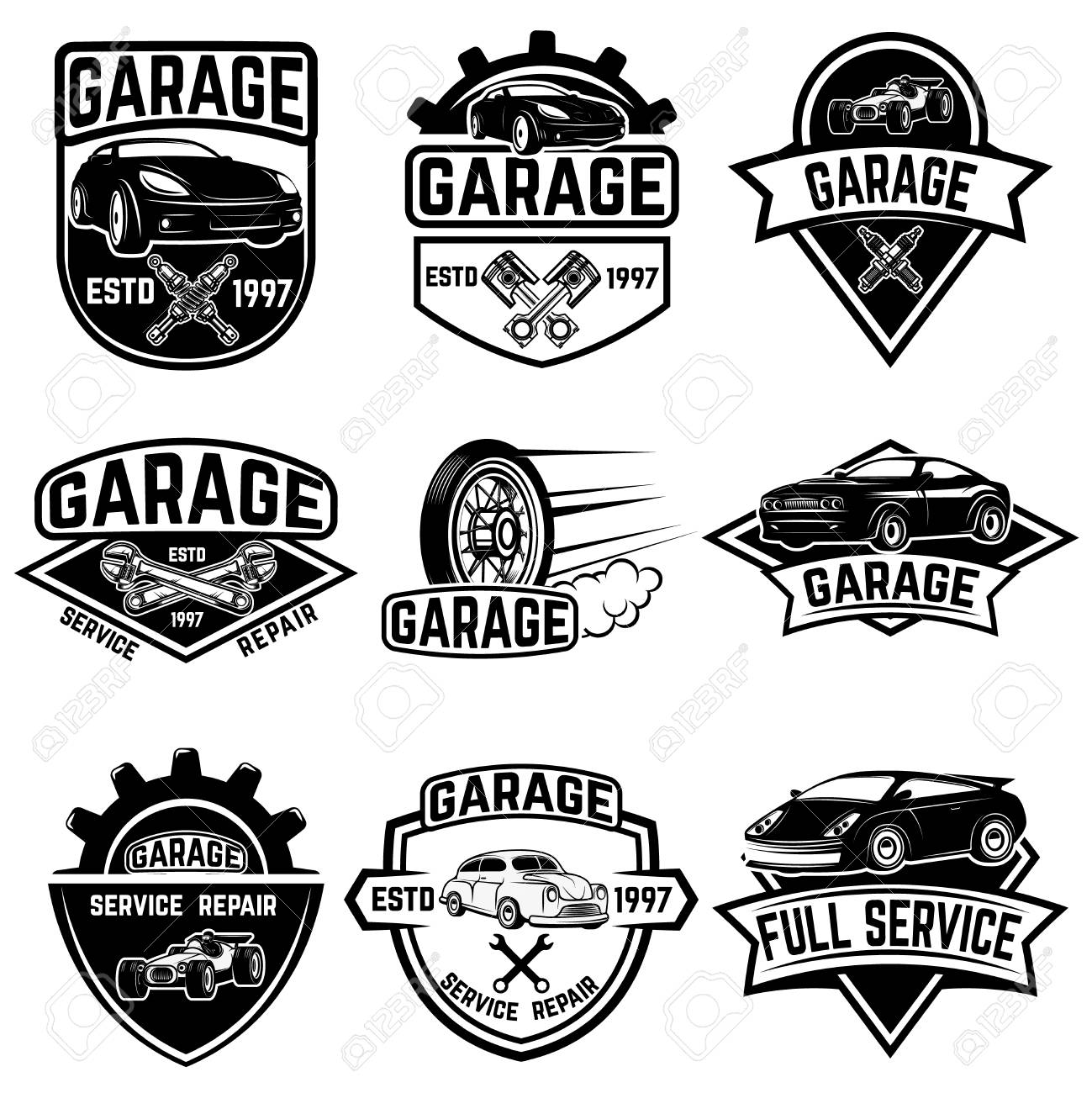 Set of vintage car service labels  Design elements for logo,