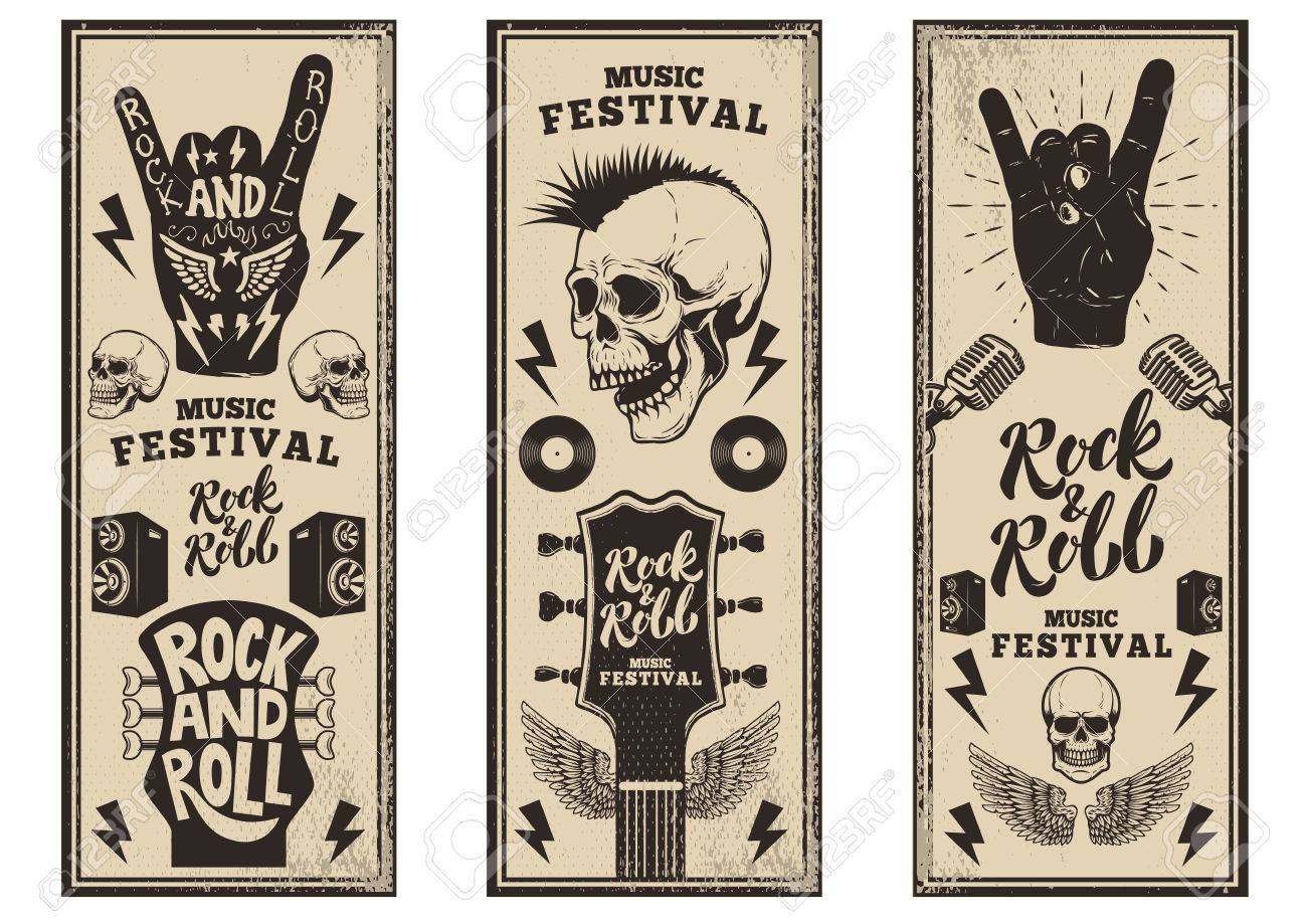 Rock and roll party flyers template. Vintage guitars, punk skull, rock and roll sign on grunge background. Vector illustration - 80034233