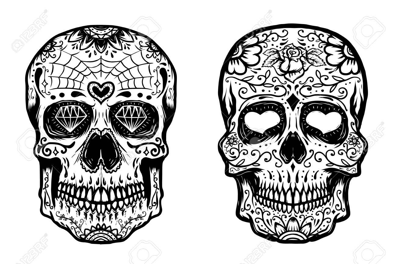 Set Of Hand Drawn Sugar Skulls On White Background Vector