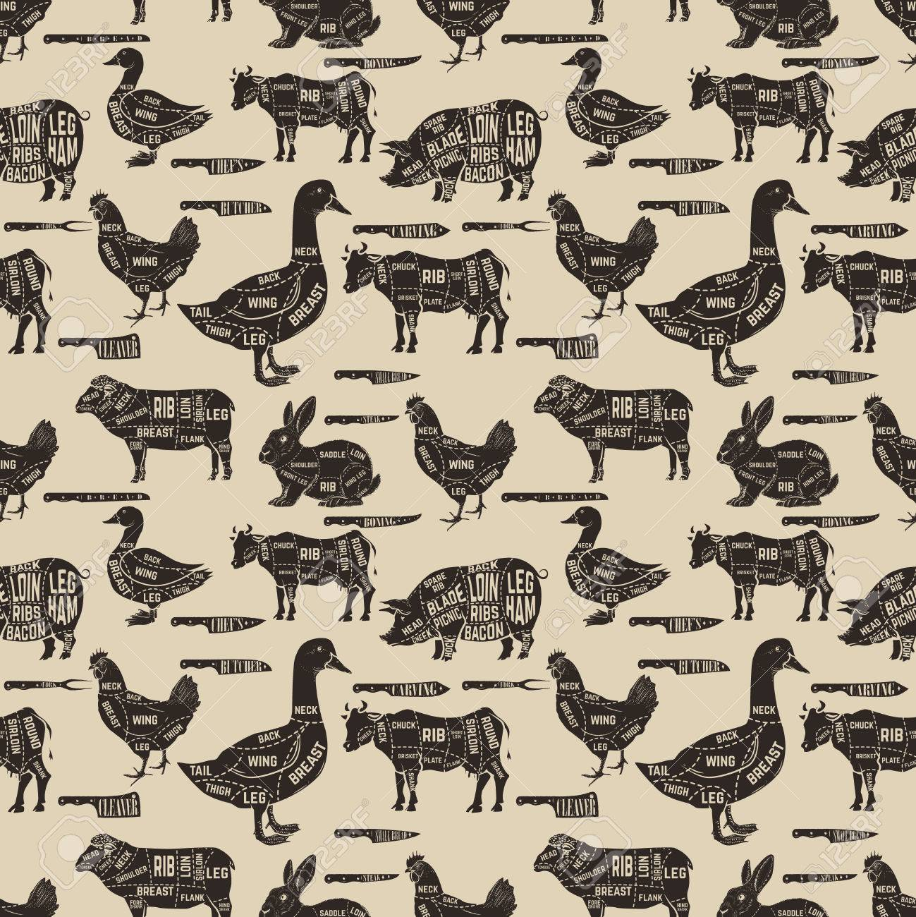 diagram guide for cutting meat seamless pattern pork cow goose