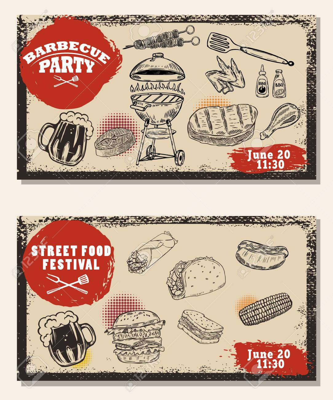 Set of bbq party invitation templates on light background. Grill, beer,meat, burger ,steak. Street food festival - 80906977