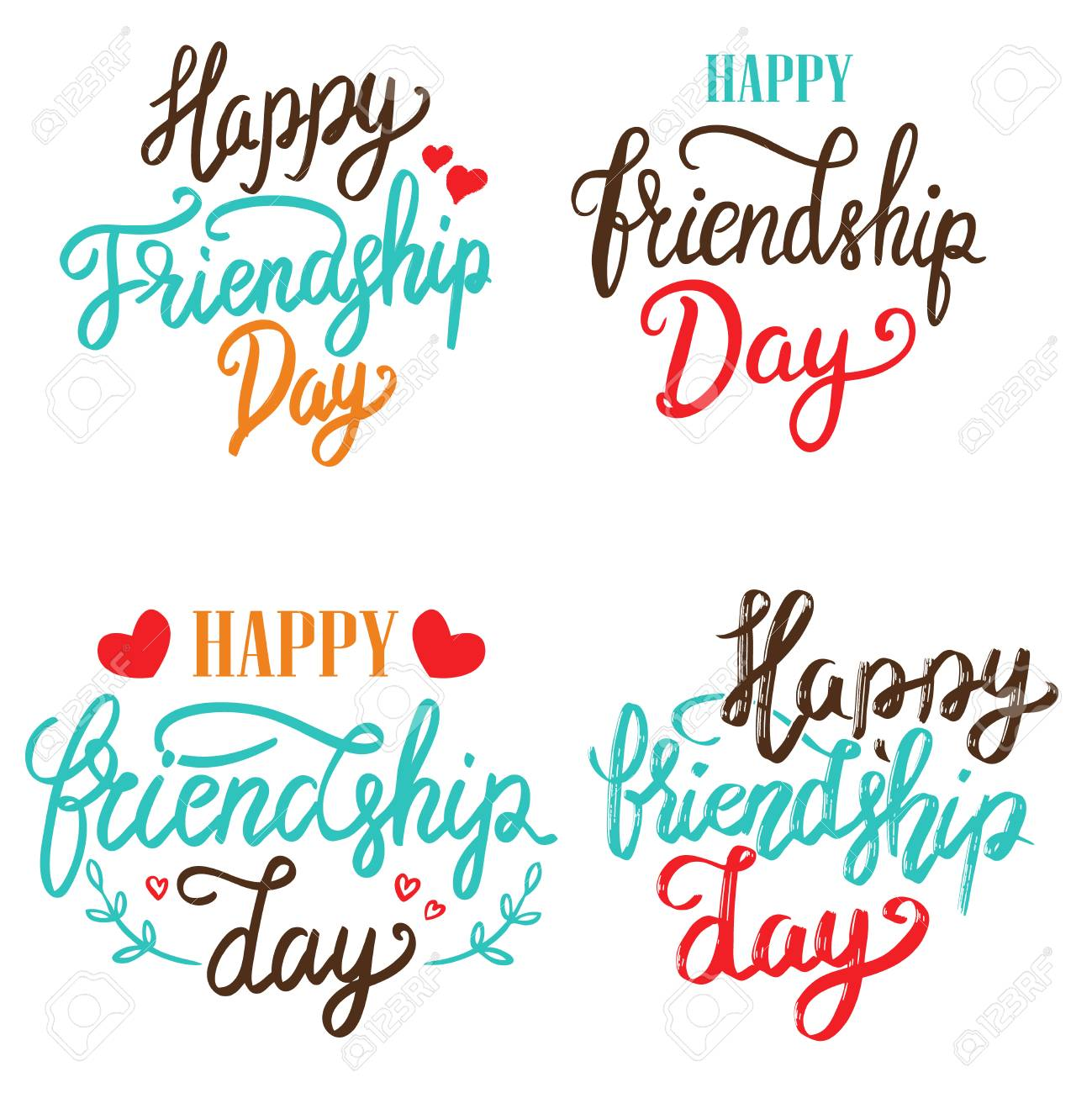 Happy Friendship Day Set Of Hand Drawn Lettering Phrases On White Background Design Element