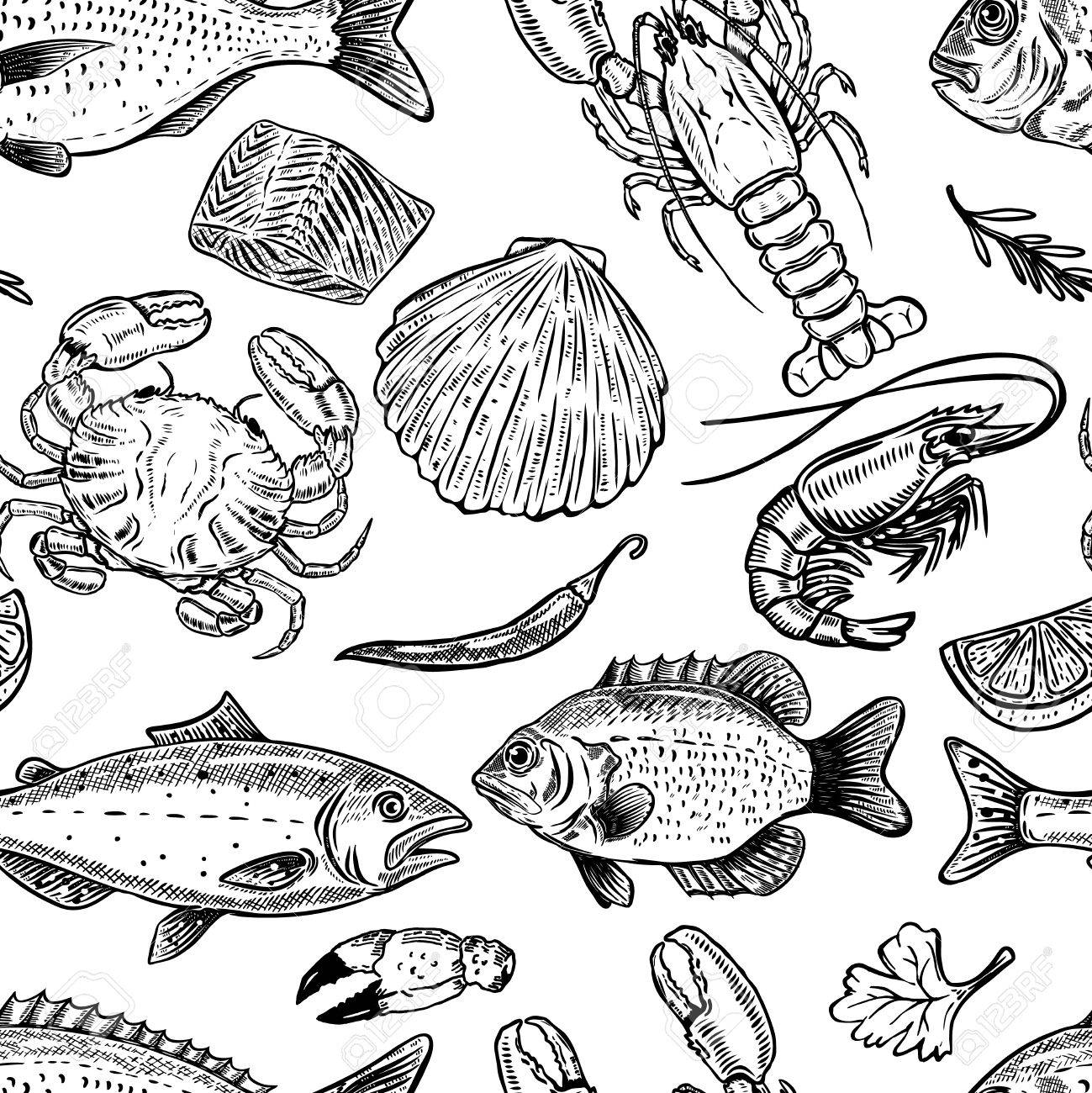 Seafood hand drawn seamless pattern. Design element for poster, wrapping paper. Vector illustration - 81715630