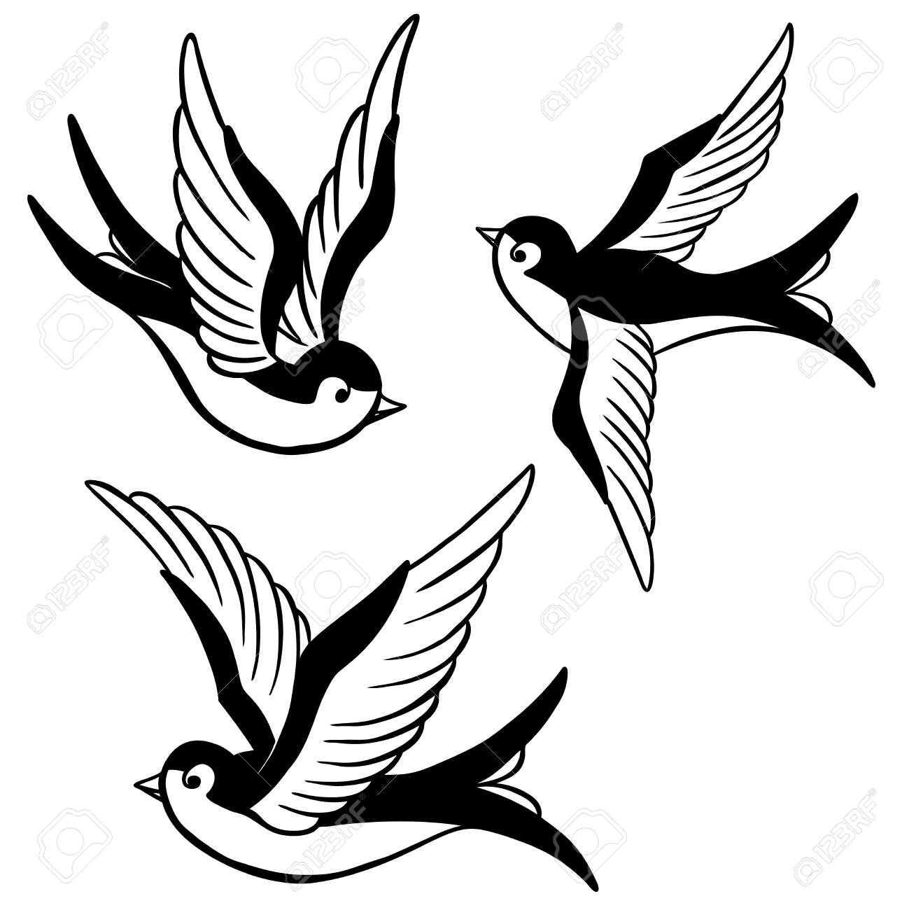 set of the swallow icons. Design elements for poster, t-shirt. Vector illustration. - 81714419