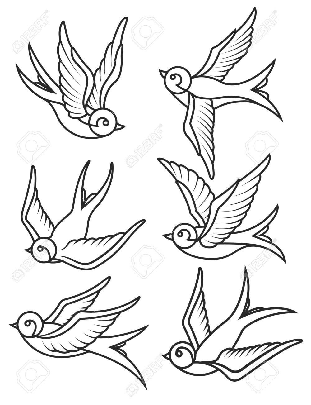 Set Von Schwalben Tattoo Vorlagen Isoliert Auf Weißem Hintergrund