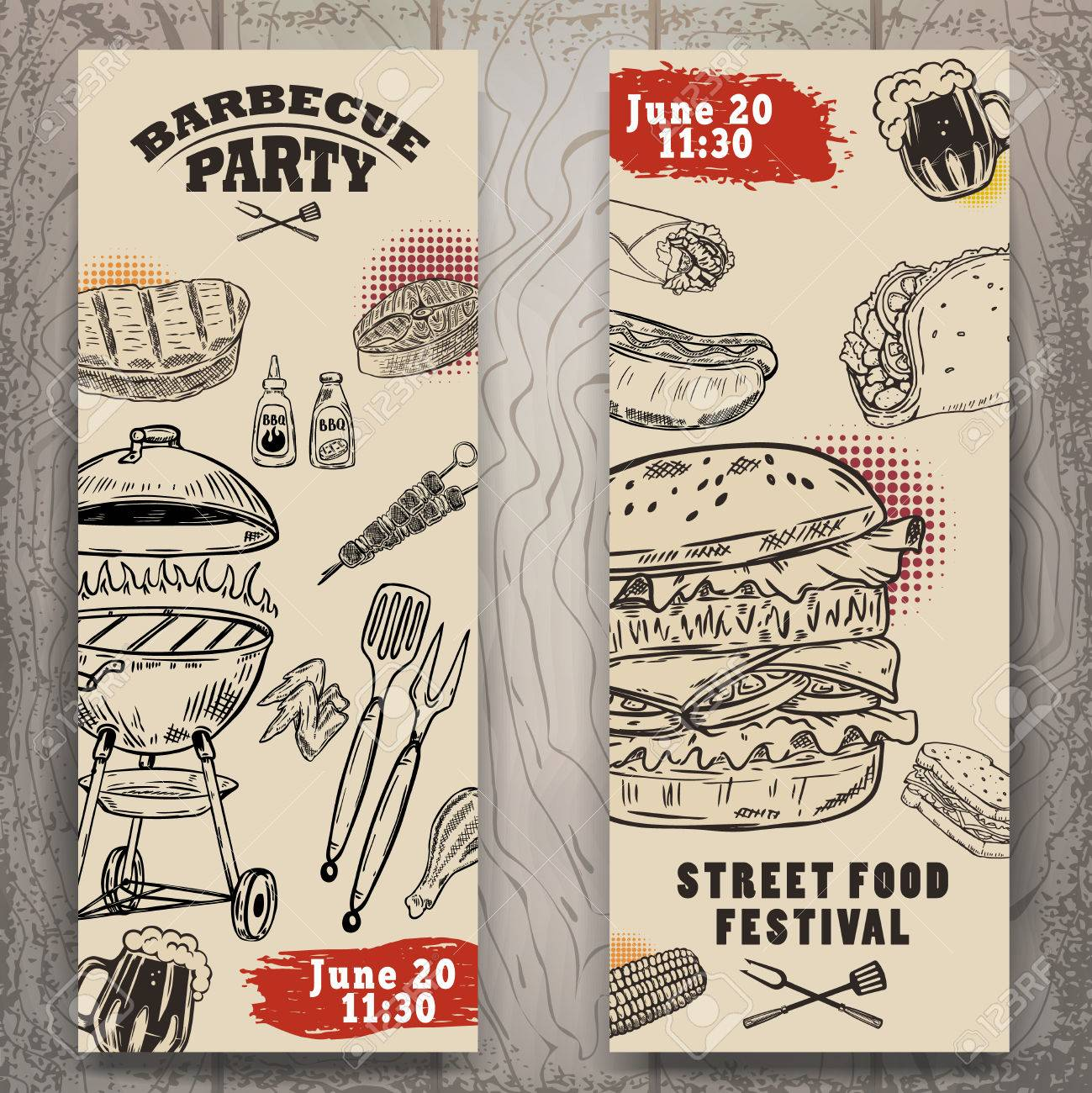 Set Of Bbq Party Invitation Templates On Light Background Grill