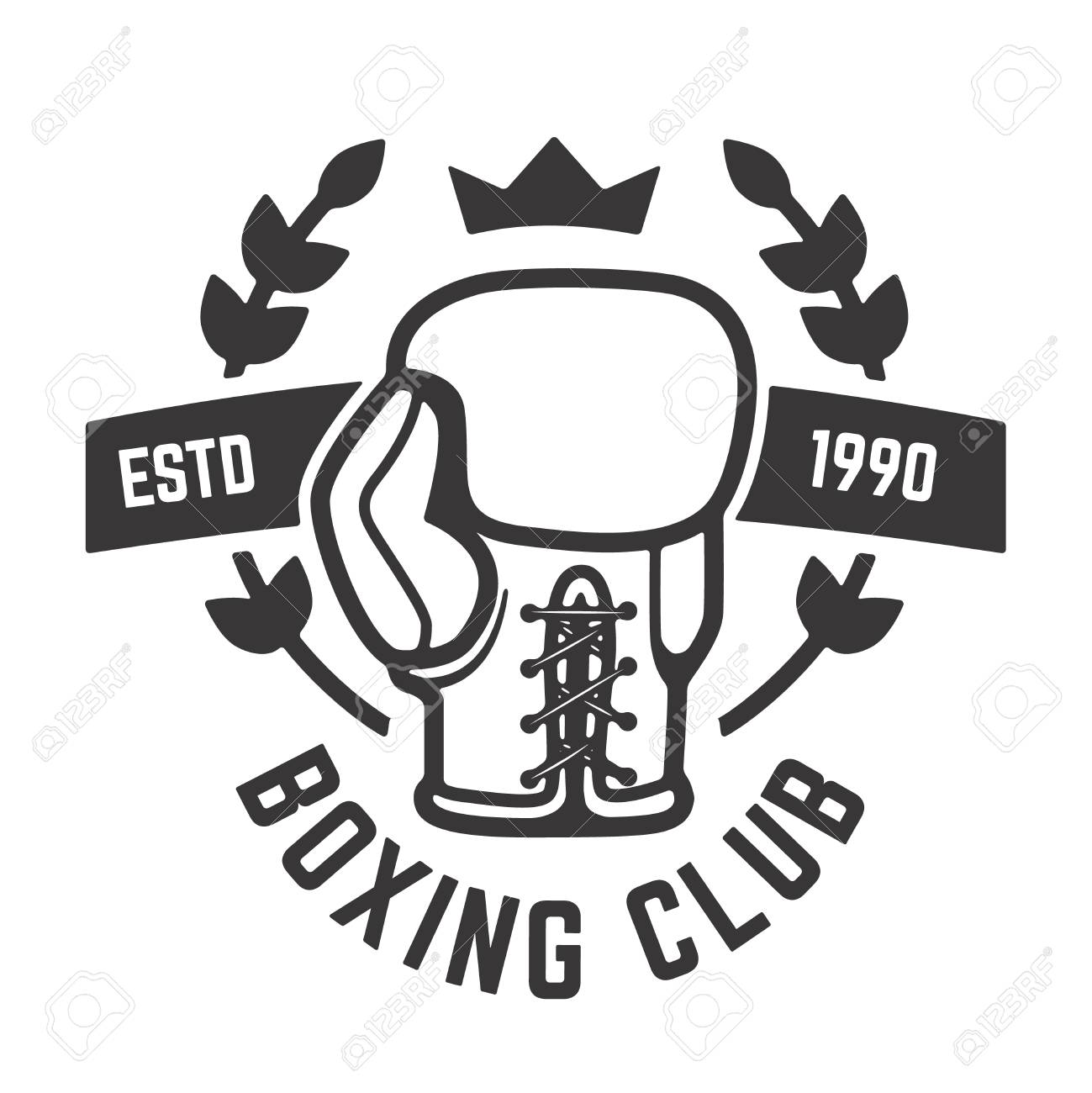 boxing club emblem template boxing glove design element for