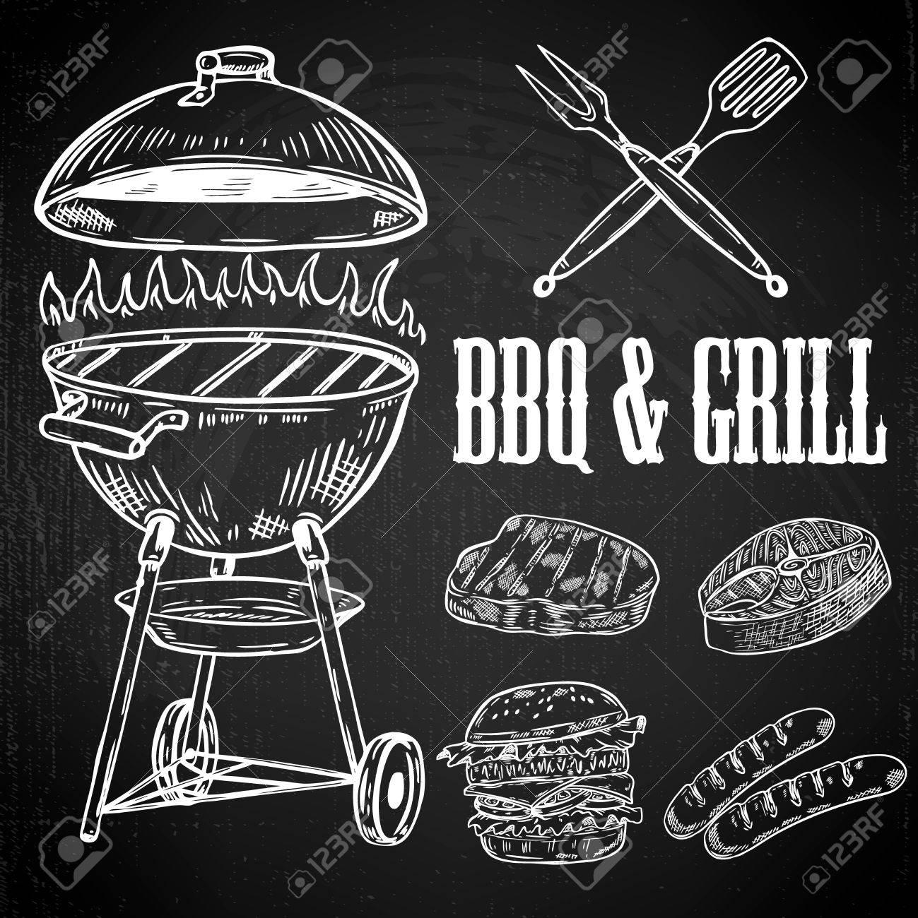 Léments De Conception Barbecue Et Grill Dessinés à La Main Viande Grillée Hamburger Saucisse éléments De Conception Pour Menu Affiche