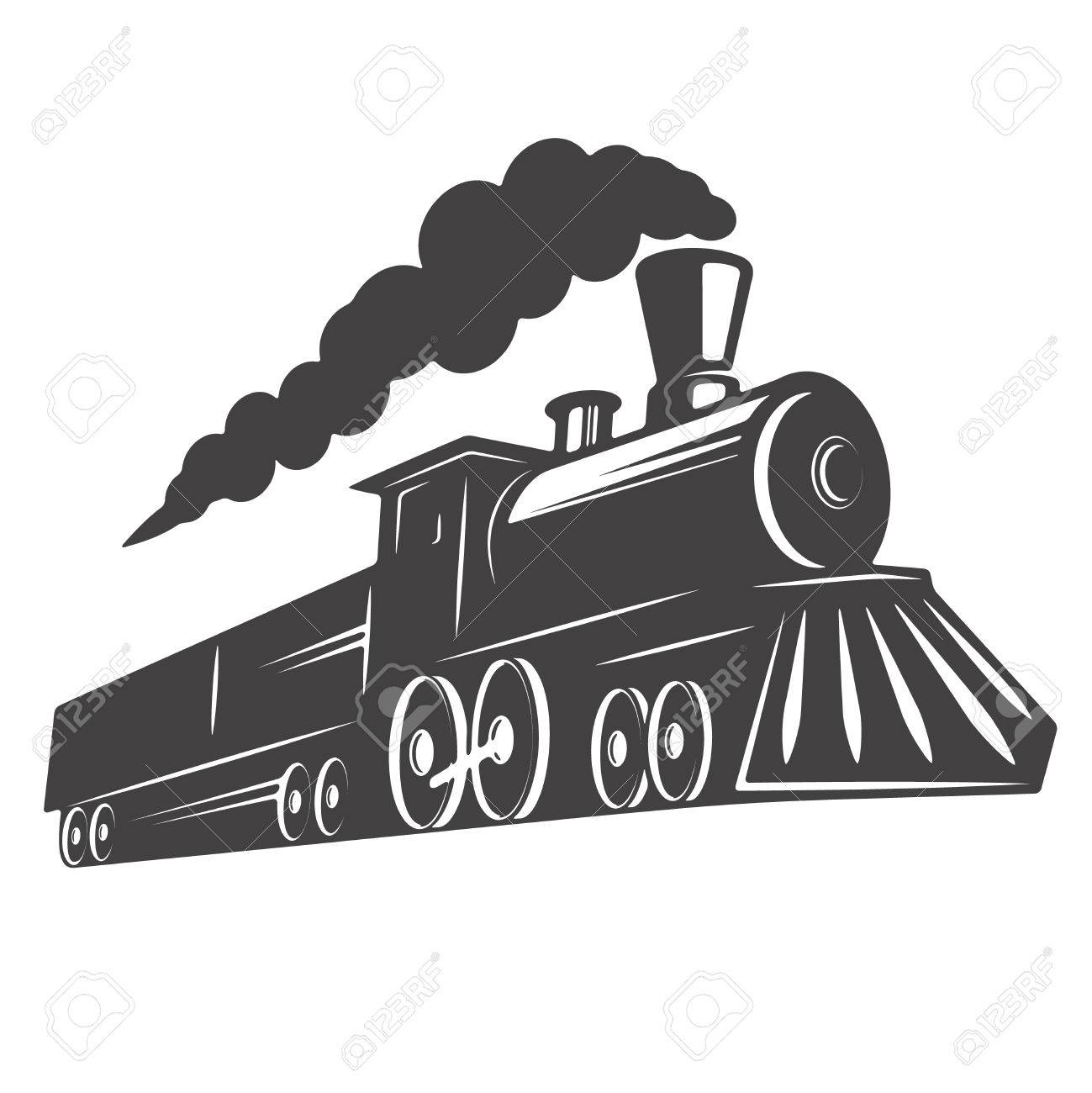 Vintage Train Isolated On White Background Design Element For Royalty Free Cliparts Vectors And Stock Illustration Image 83461124