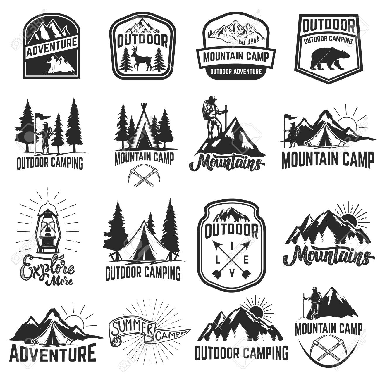 Set of camping emblems isolated on white background. Hiking, tourism, outdoor adventure. Design elements for logo, label, emblem, sign. Vector illustration - 85563923
