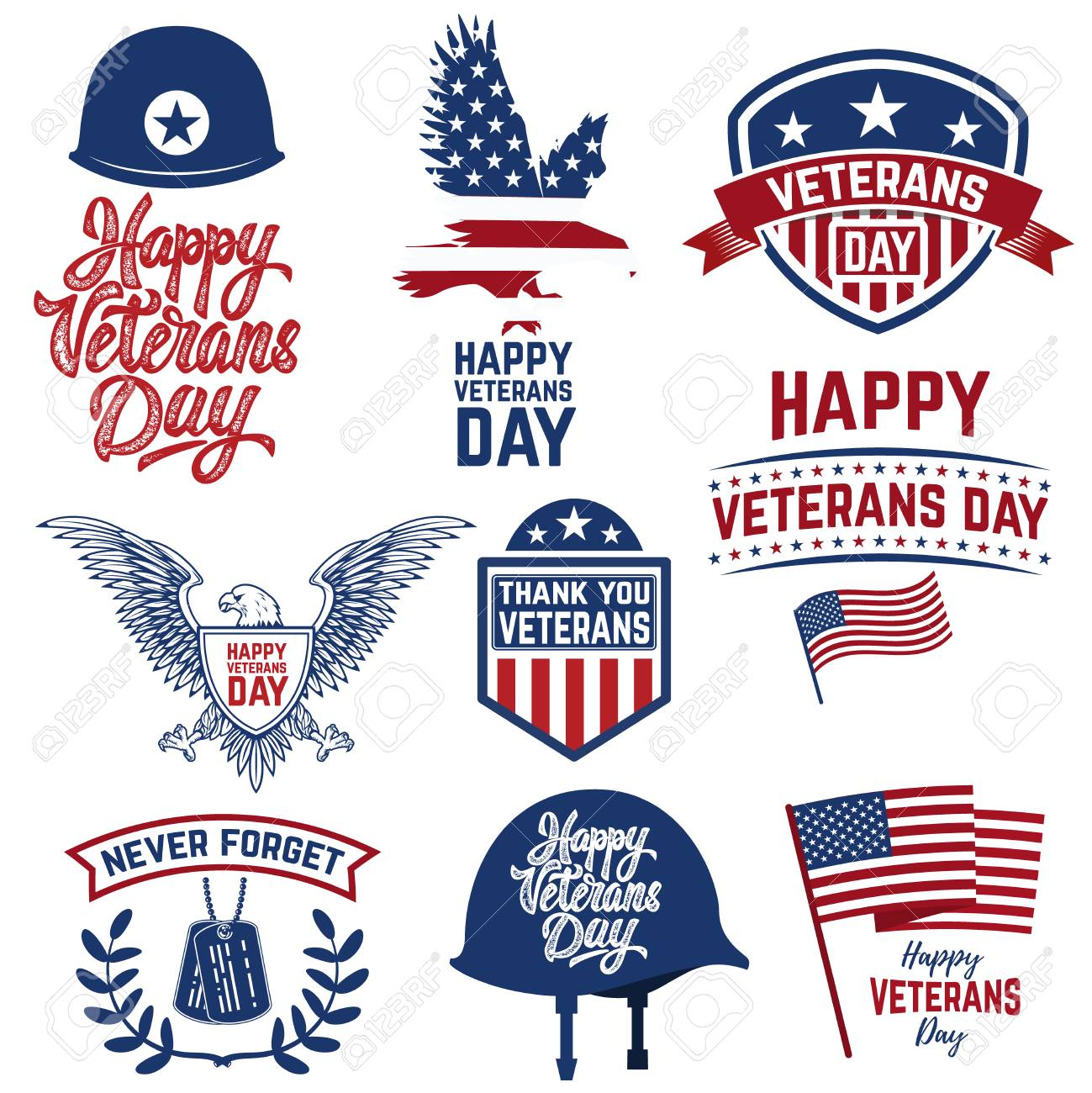 set of happy veterans day emblems emblems with american flags