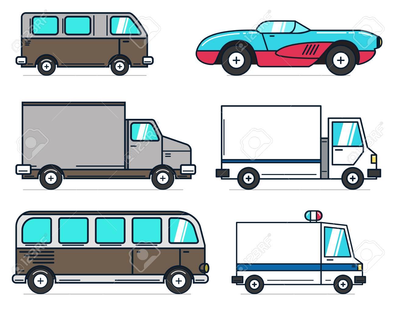 Ensemble D Illustrations De Bus Et Camion De Voiture De Dessin Animé Sur Fond Blanc Idéal Pour L Animation La Motion Design L Infographie élément
