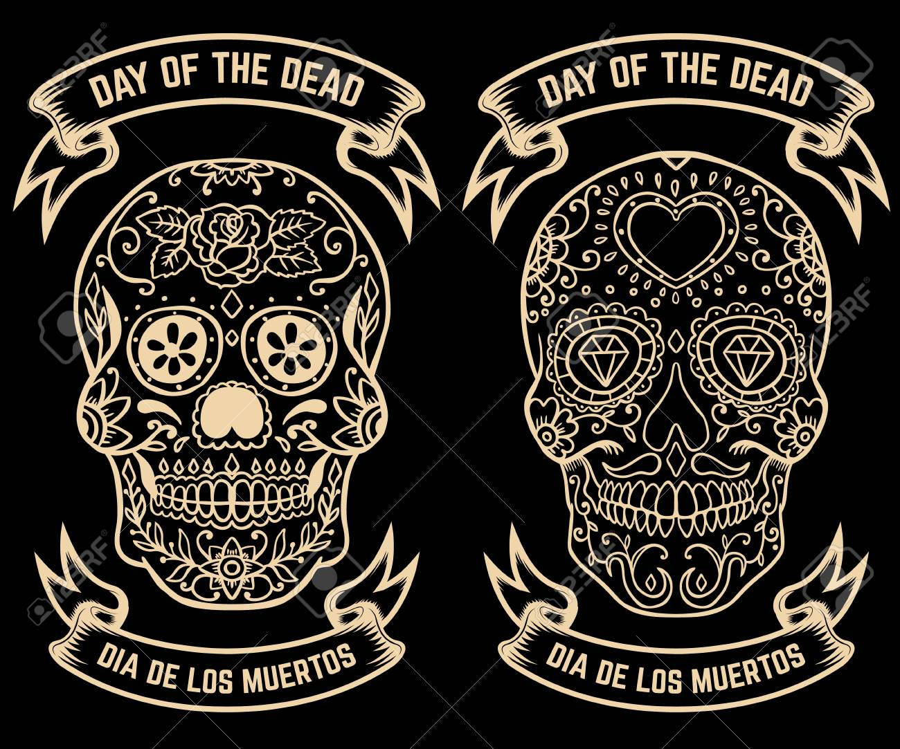 day of the dead dia de los muertos set of the sugar skulls