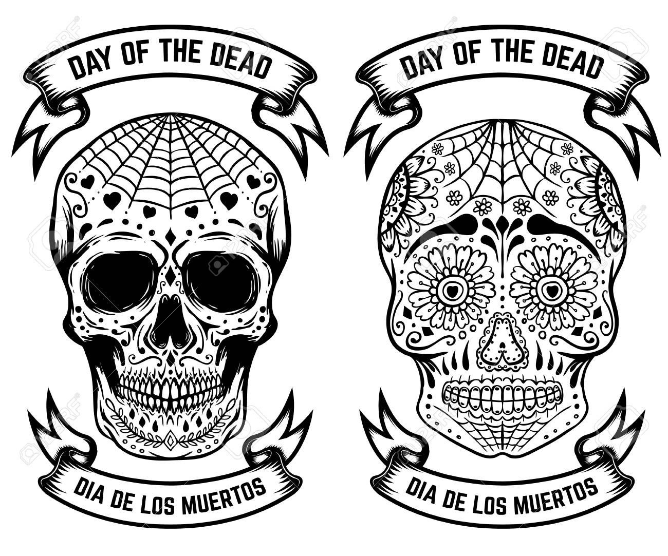 Day Of The Dead Dia De Los Muertos Set Of The Sugar Skulls Royalty Free Cliparts Vectors And Stock Illustration Image 87971329