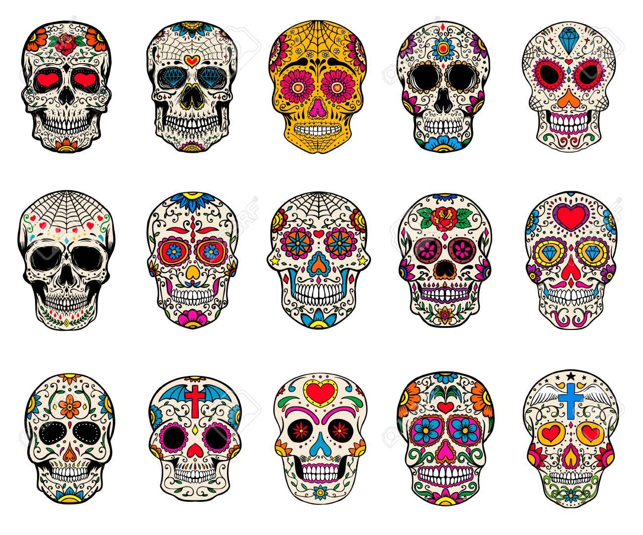 Set of sugar skulls illustrations. Dead day. Dia de los muertos. Design elements for poster, card, flyer, banner. Vector illustration. - 87971493