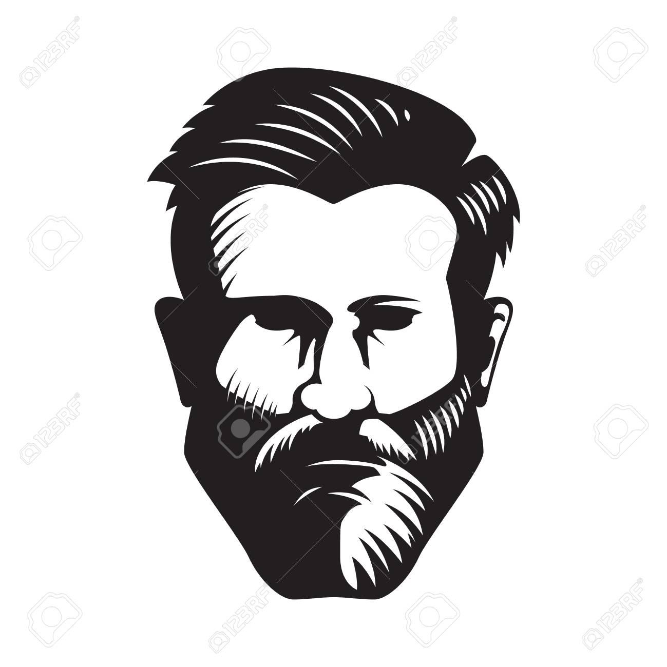 Bearded man head illustration isolated on white background. Design element for poster, emblem, sign, badge. Vector illustration - 88311351