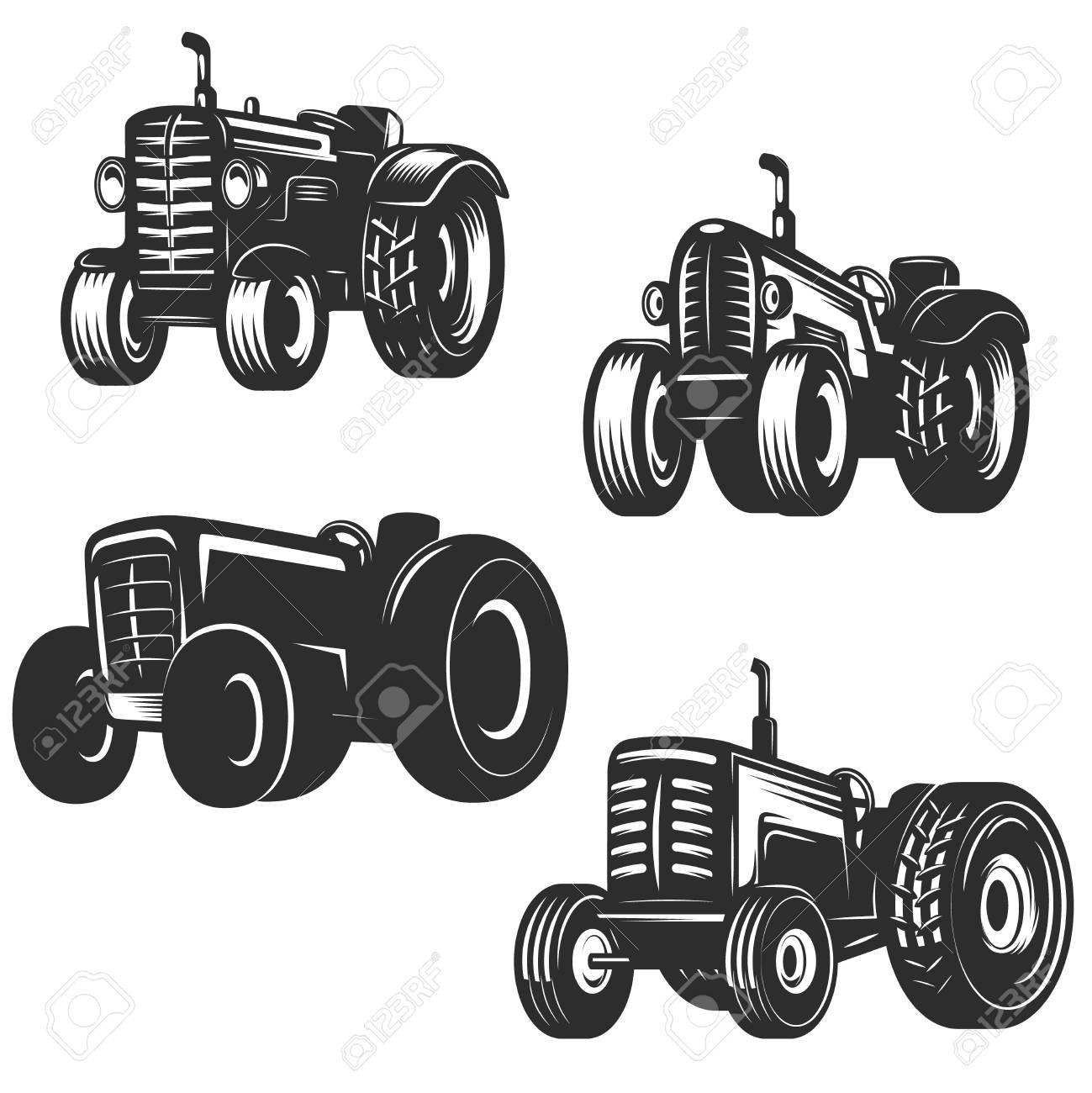 Set of retro tractor icons. Design elements for logo, label, emblem, sign. Vector illustration - 88311389