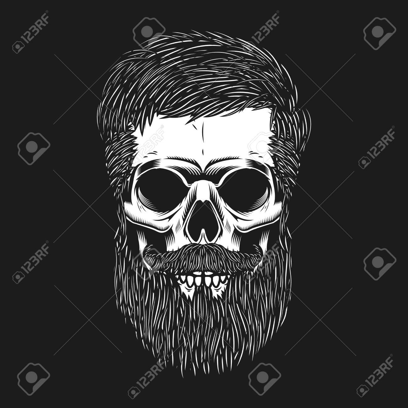 Bearded skull on dark background. Design element for poster, emblem, t shirt. Vector illustration - 90099957