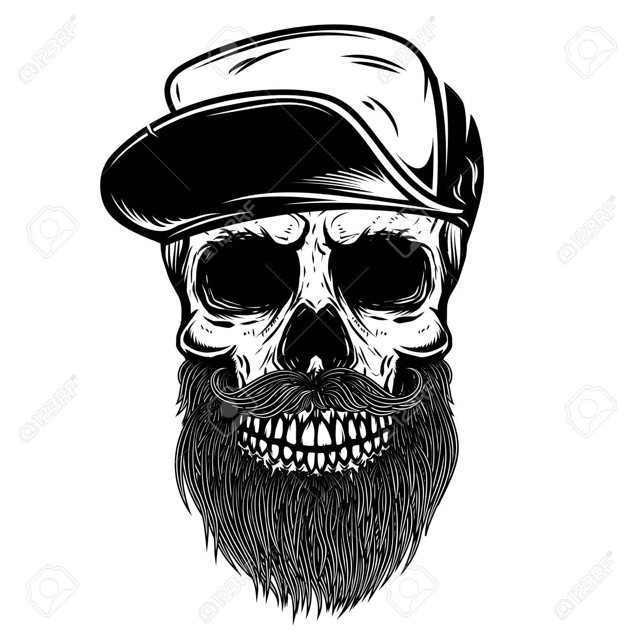 67ed307e649 Bearded Skull In Baseball Cap. Design Element For T Shirt