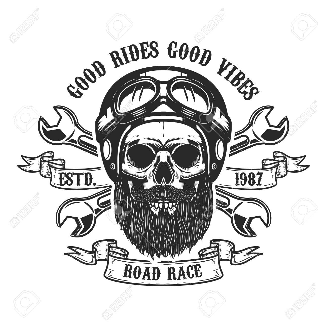 Racer skull in helmet. Design element for emblem, sign, label, poster. Vector illustration - 91034771