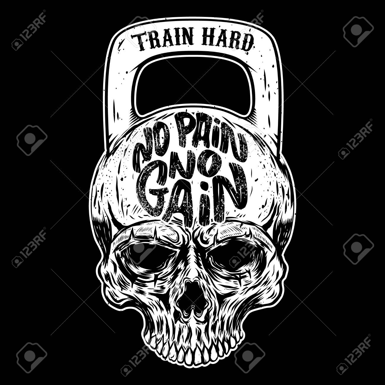 No Pain No Gain Train Hard Skull In The Form Of A Weight Vector