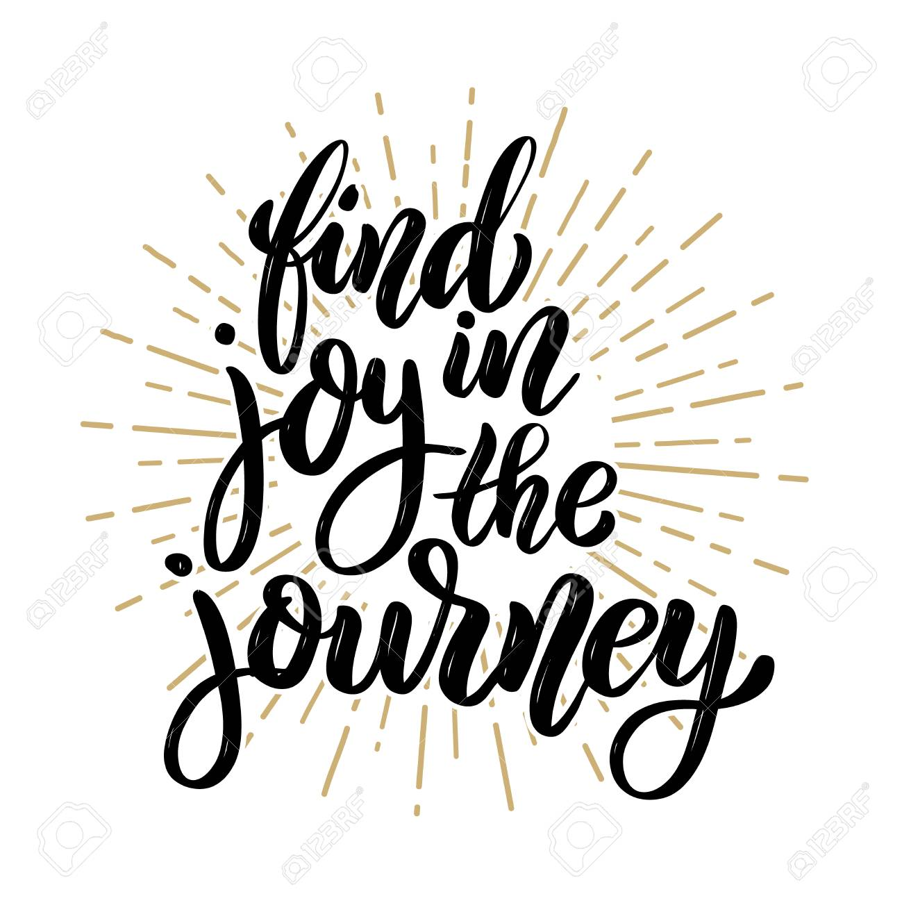 Find Joy In The Journey Hand Drawn Motivation Lettering Quote