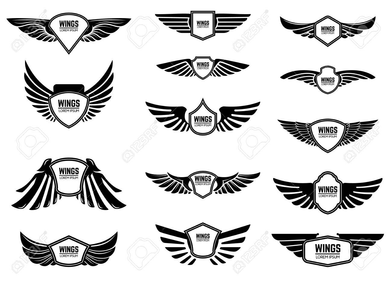 Set of blank emblems with wings. Design elements for emblem, sign, label. Vector illustration - 92242356