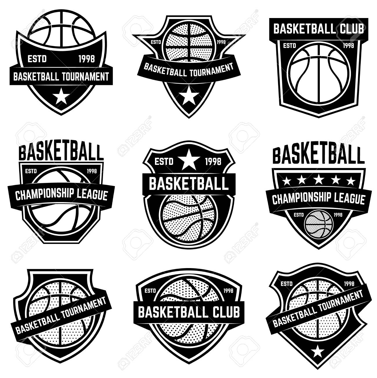 Set Of Basketball Sport Emblems Design Element For Poster Logo