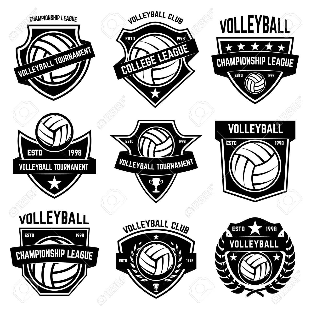 Volleyball emblems on white background. Design element for logo, label, emblem, sign, badge. Vector illustration - 94316679