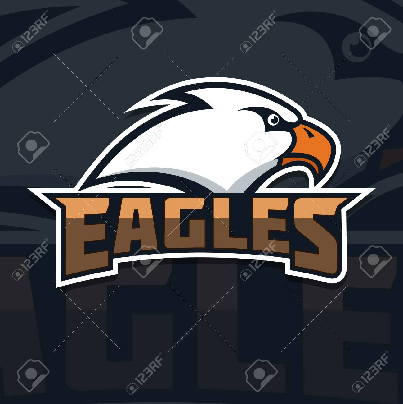 Eagles  emblem template with eagle head  sport team mascot  Vector