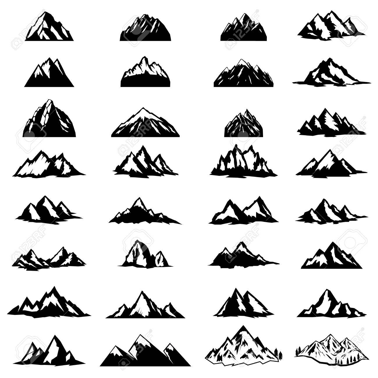 Big set of mountain icons isolated on white background. Design elements for logo, label, emblem, sign. Vector illustration - 94768293