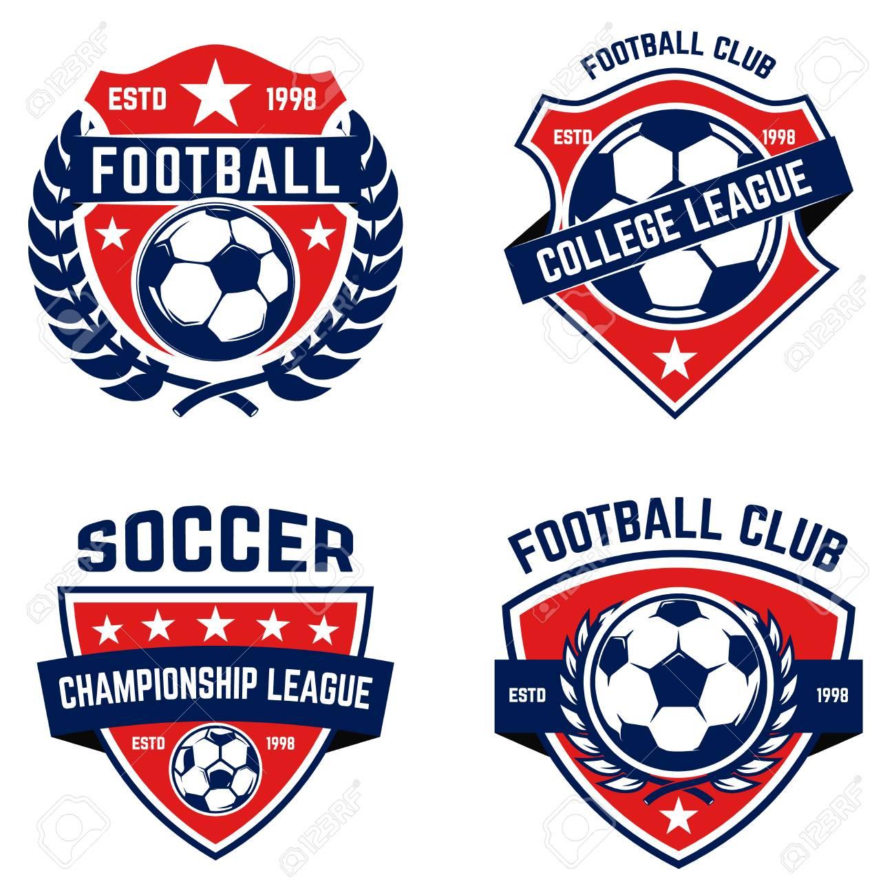 Set of soccer, football emblems. Design element for logo, label, emblem, sign. Vector illustration - 95236787