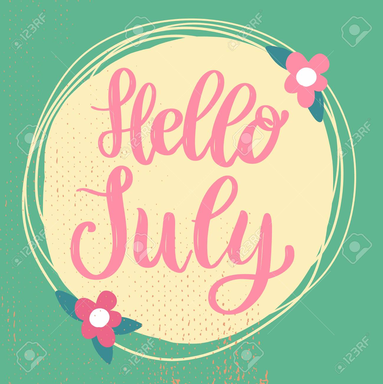 Hello July Lettering Phrase On Background With Flowers Decoration. Design  Element For Poster, Banner