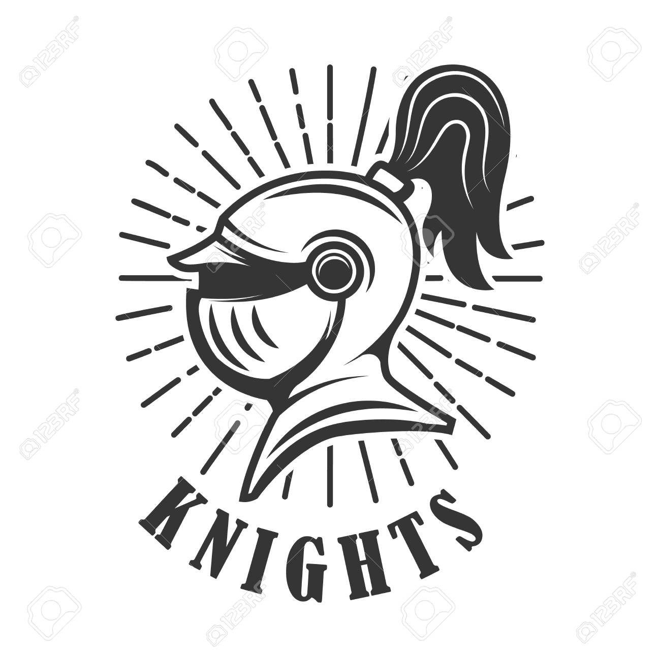 knights emblem template with medieval knight helmet design