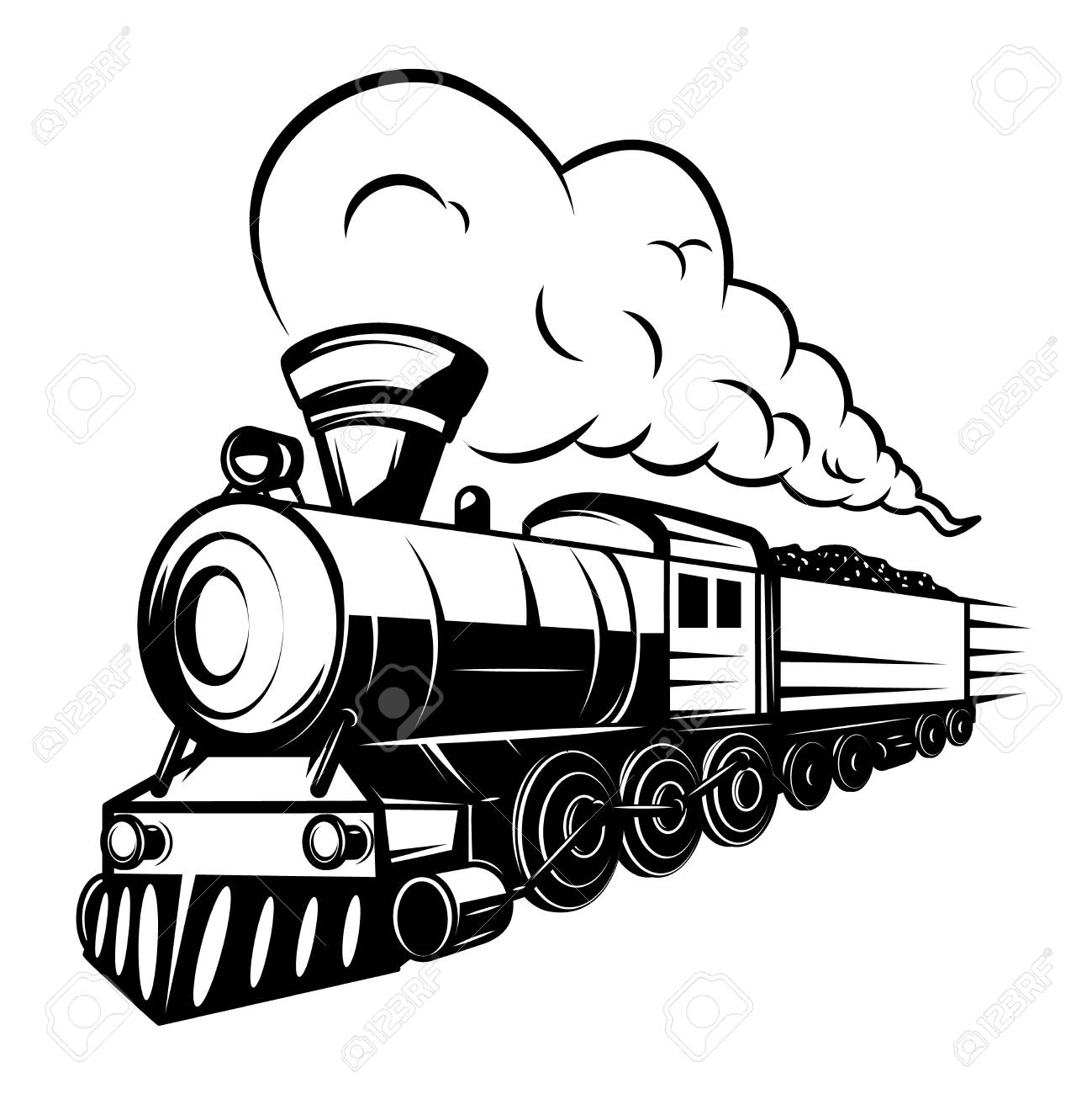 Retro Train Illustration Isolated On White Background Design Royalty Free Cliparts Vectors And Stock Illustration Image 98931962