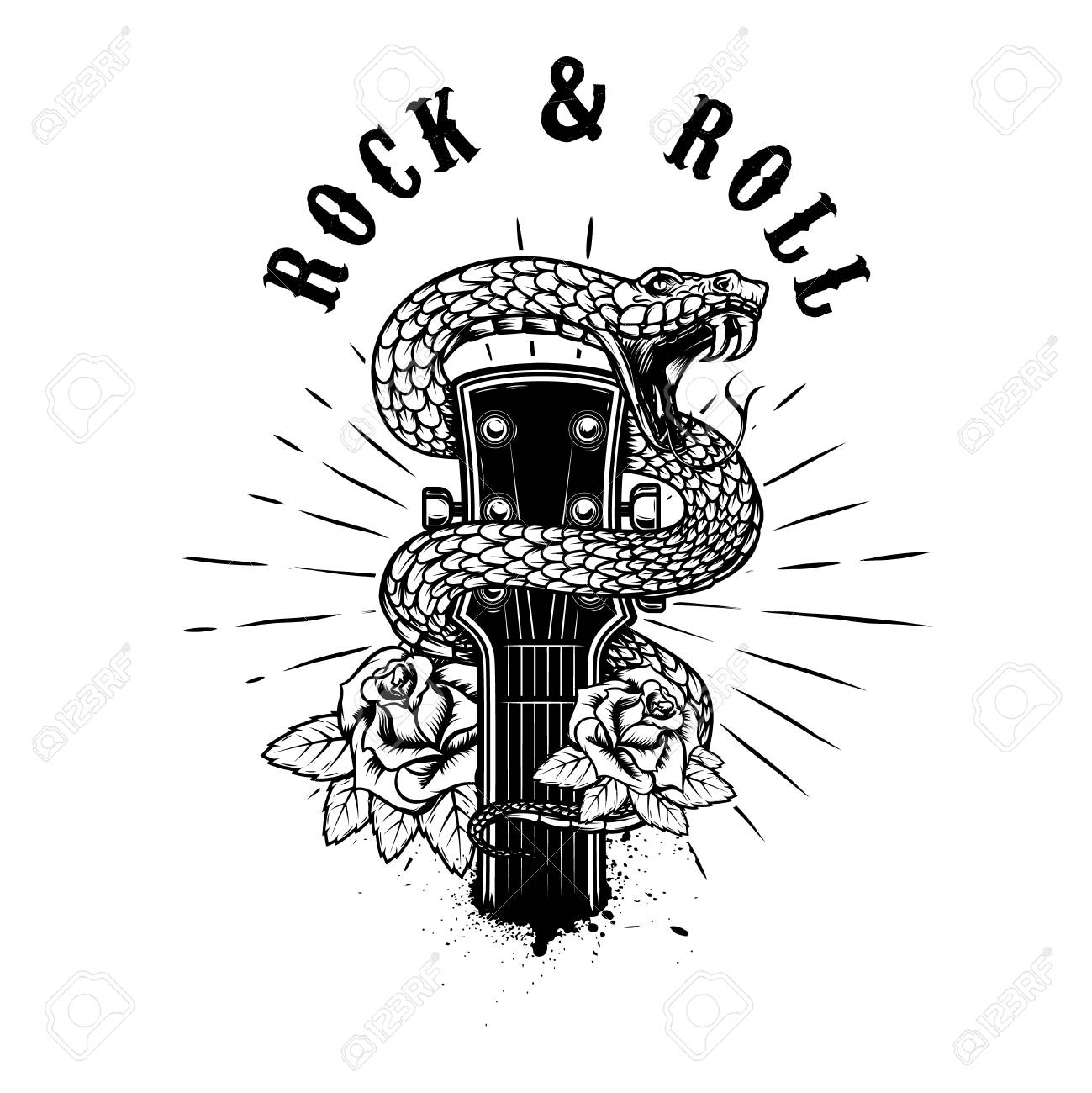 Rock and roll. Guitar head with snake and roses. Design element for poster, card, banner, emblem, shirt. Vector illustration - 100382388
