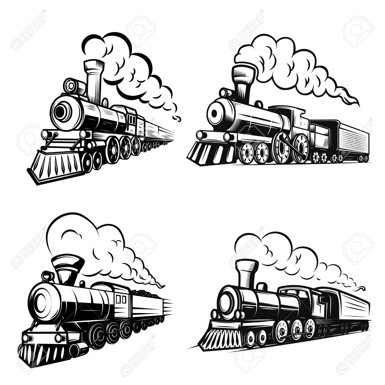 Set of retro locomotives on white background. Design elements for logo, label, emblem, sign. Vector image - 101214308