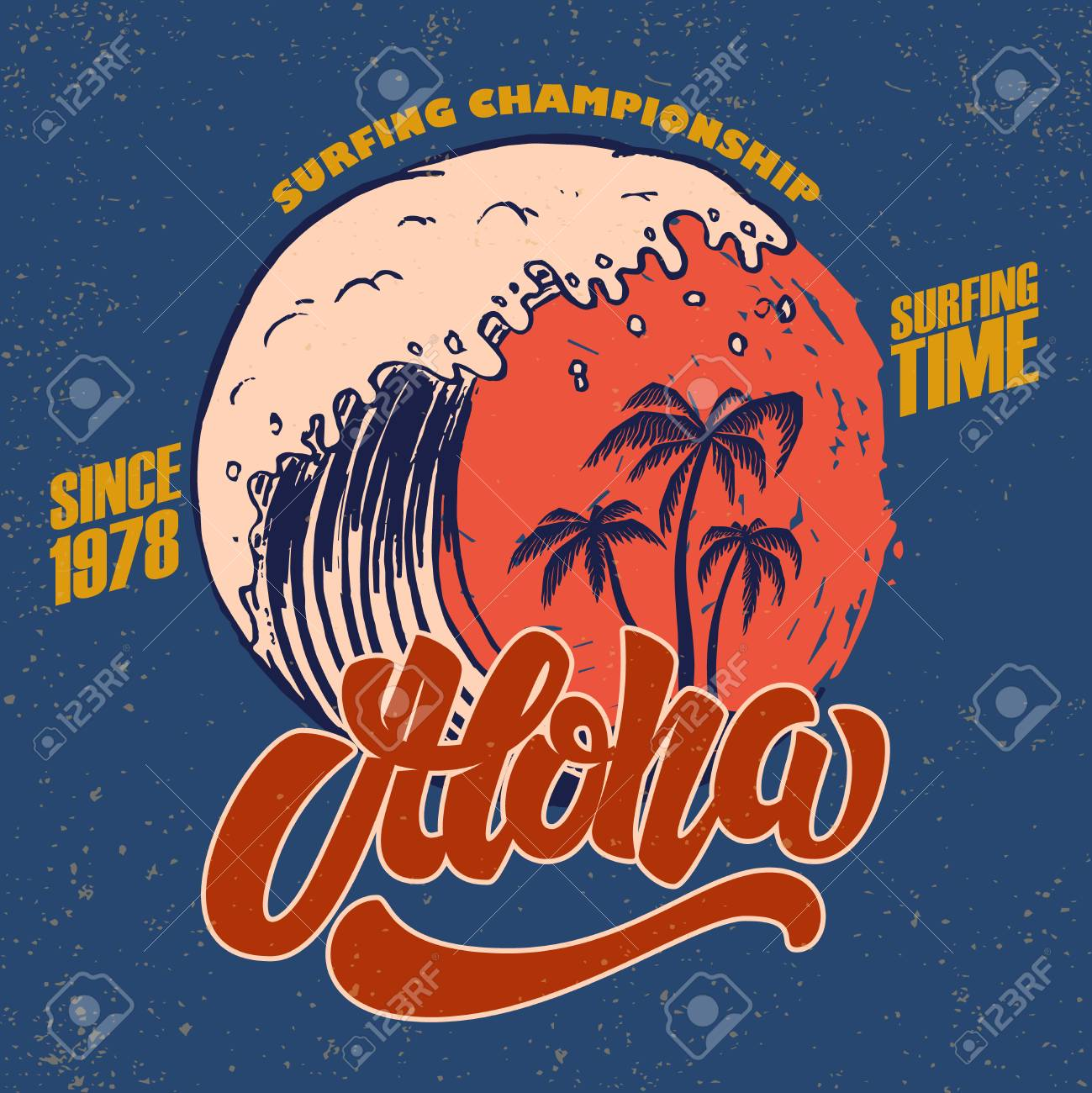 Aloha. Surfing time. Poster template with lettering and palms. Vector image - 103434210