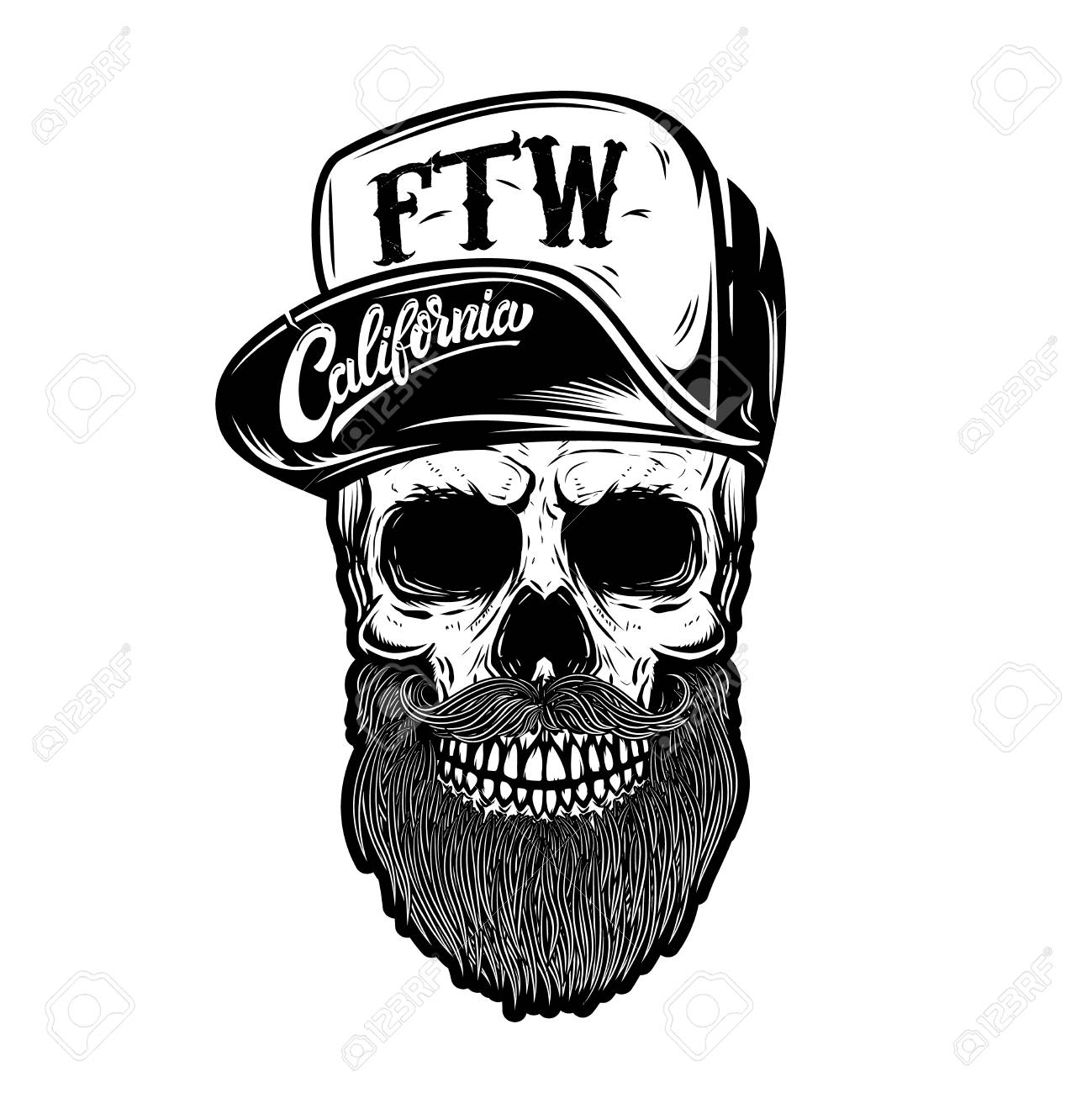1a892824214 Hipster Skull In Baseball Cap With Lettering California