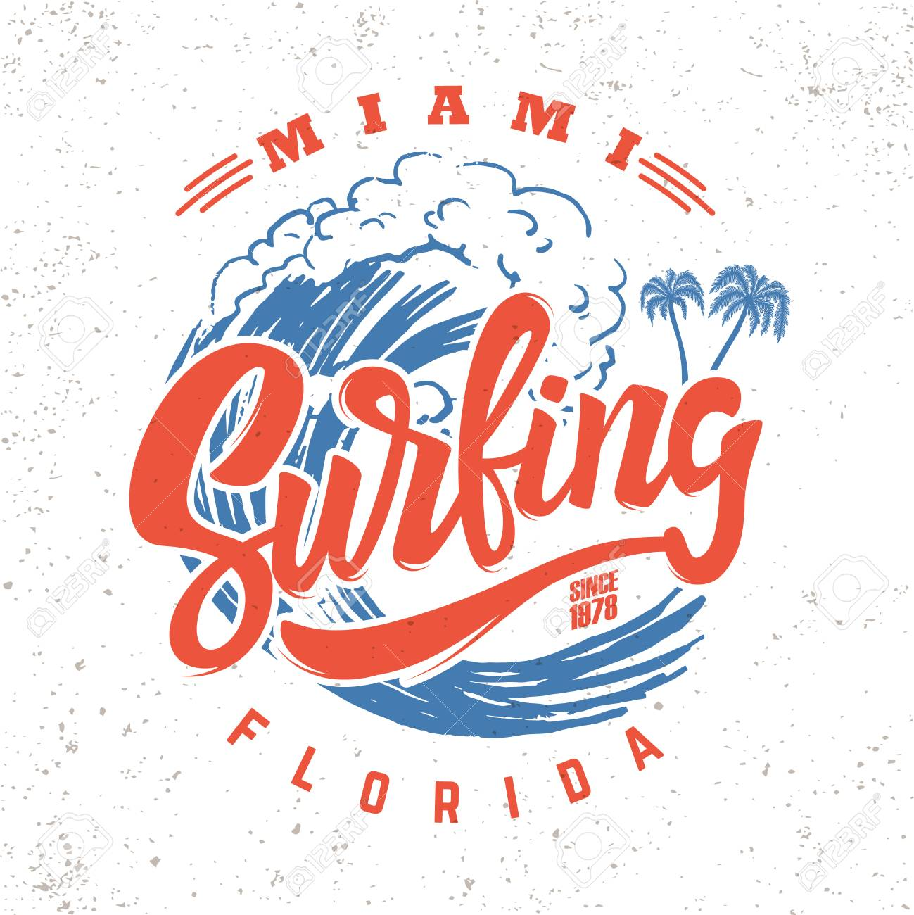 Surfing miami. Lettering phrase on background with sea wave - 104927606