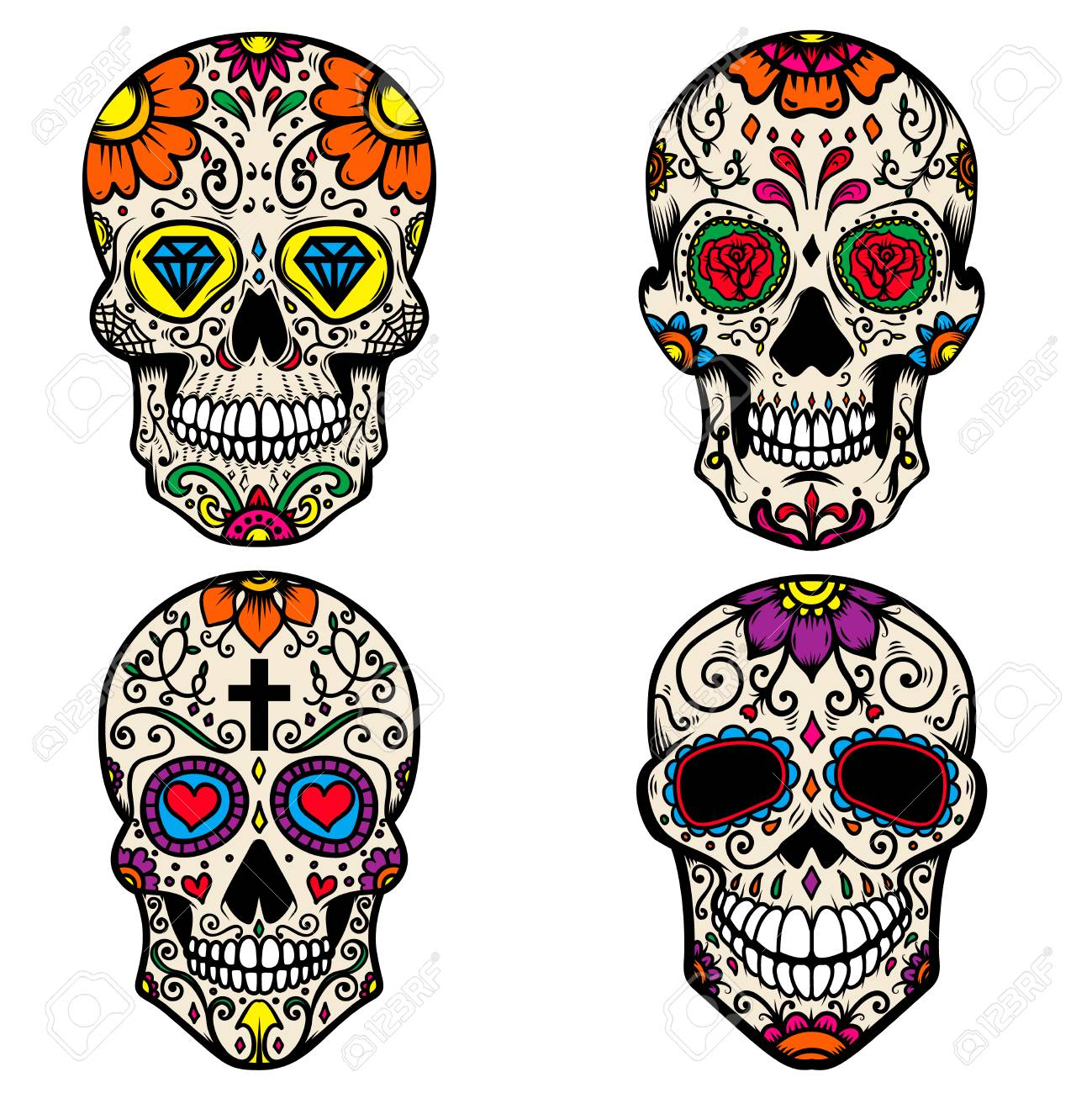 - Set Of Colorful Sugar Skull Isolated On White Background. Day