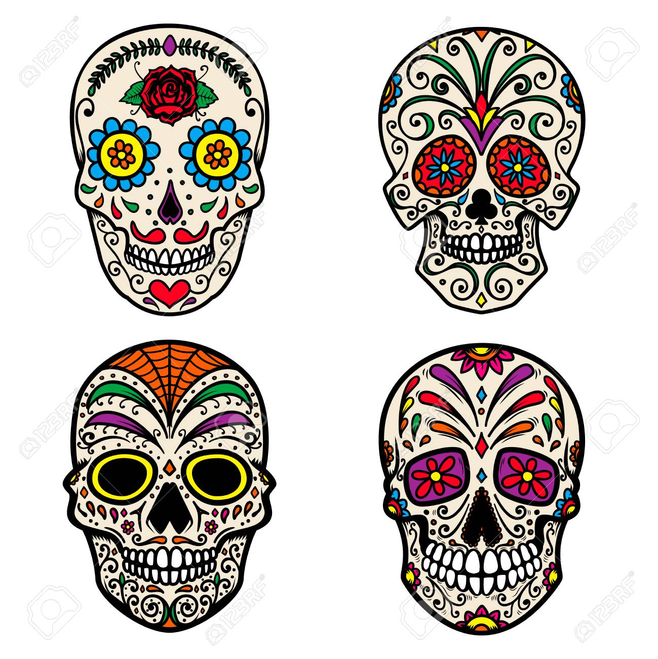 Set Of Colorful Sugar Skull Isolated On White Background. Day ...
