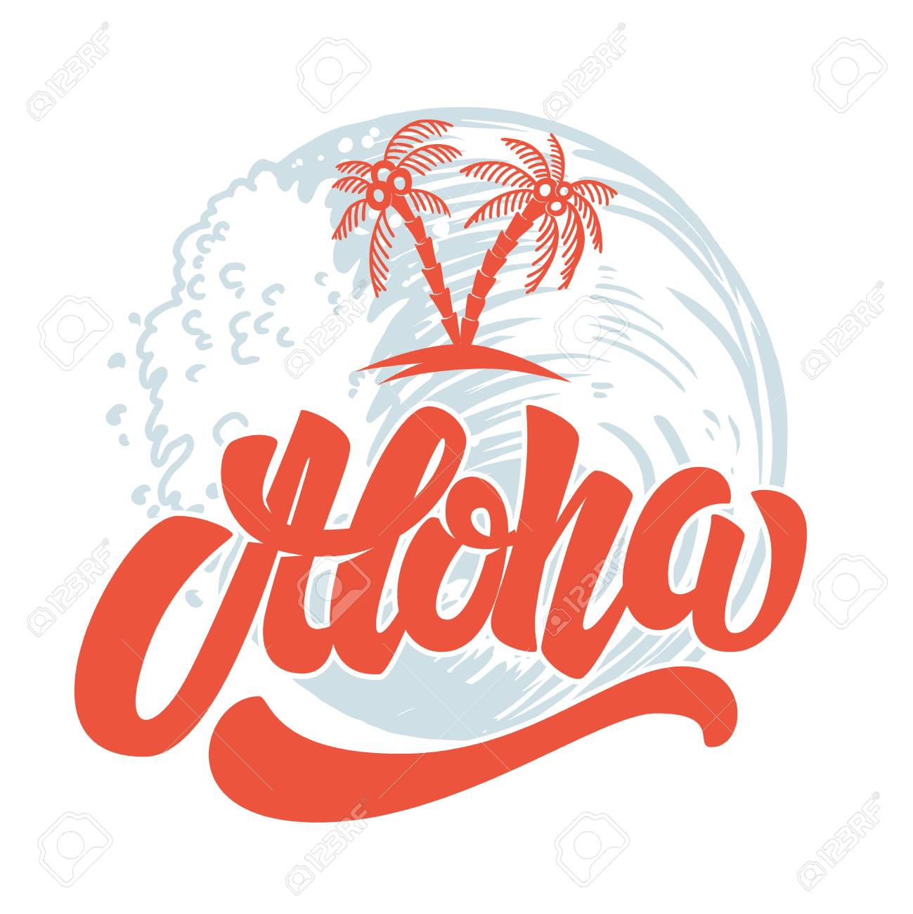 Aloha. Hand drawn lettering with sea waves background. Design element for poster, print, card, emblem, sign. - 105217216